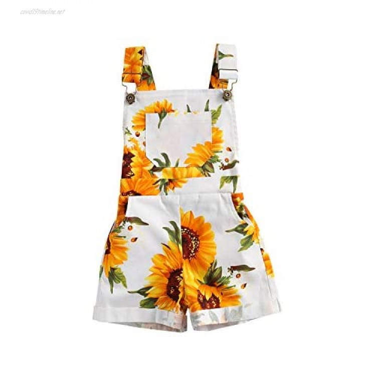 Kids Toddler Girl Sleeveless Backless Sunflower Romper Jumpsuit Bib Overall Suspender Shorts One Piece Outfit
