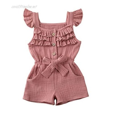 Merqwadd Toddler Kids Girls Jumpsuits Rompers Fly-Sleeve Shorts Overall with Belt Summer Clothing