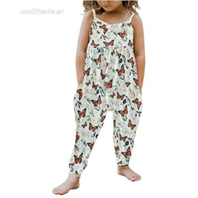 Toddler Girls Kids Floral Jumpsuit One Piece Romper Sleeveless Strap Leopard/Sunflower Overall Pants Summer Clothes