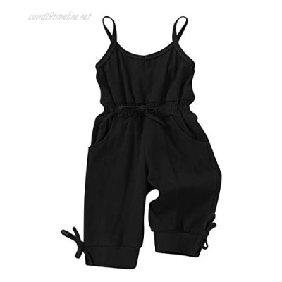 YOUNGER STAR Baby Girl Romper Casual Ruffle Sleeveless Overalls Pants with Pocket Outfits Black Gray Toddler Jumpsuit 6M-4T