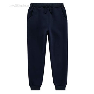 UNACOO Boys' and Girls' Soft and Warm Sherpa Fleece Lined Casual Pants (Age 3-12 Years)